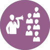 Management-Business-person--presentaction-plan-over-loud-speaker-on-purple-circul-background-icon